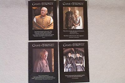 "GAME OF THRONES SEASON FIVE Lot of 4 ""Quotables"" Insert cards Q42,43,46,48"