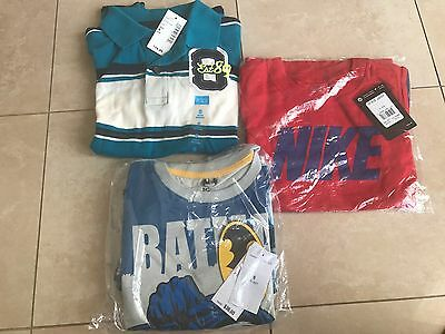 Lot Of Boys Shirts And Shorts Size 5-6 Nike Batman Polo Brand New With Tags