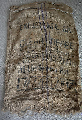 Vintage BURLAP SACK Coffee Bean Advertise Jute Farmhouse Decor PILLOW FABRIC bu