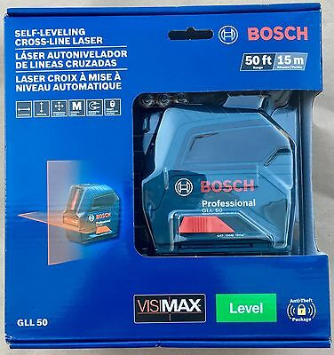 Bosch Self Leveling Cross Line Laser Gll-50 50Ft - New - Free Shipping