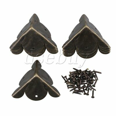 15pcs Antique Decorative Bronzy Metal Feet Leg Corner Cover Protector 30x30mm