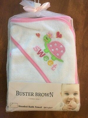 Buster Brown Girls Hooded Terry Towel White New