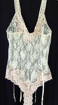 Vtg 1940s Pink & White Lace & Ribbon Teddy Camisole with Garters