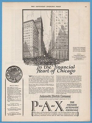 1922 Automatic Electric Chicago IL PAX Rotary Dial Telephone Federal Reserve Ad