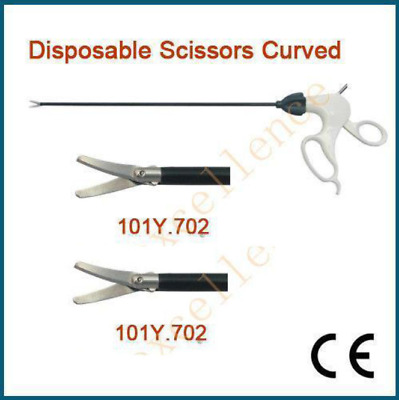 Surgical Disposable Scissors Curved ø5x330mm Clamps CE Laparoscopic Forceps Sale