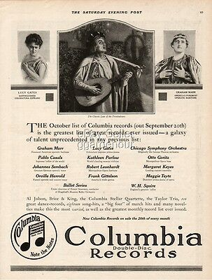 1916 Al Jolson Brice King Columbia Record Lucy Gates Graham Marr vintage ad