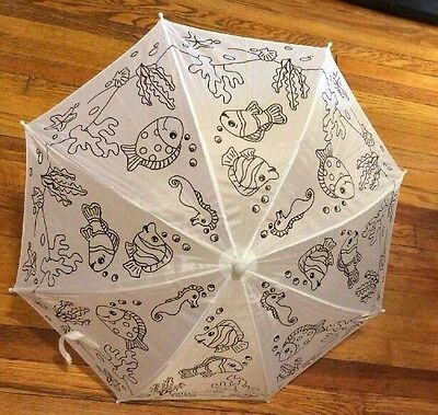 RainStoppers Kid's Plastic Color Me Craft Umbrella, 34-Inch Decorate Yourself