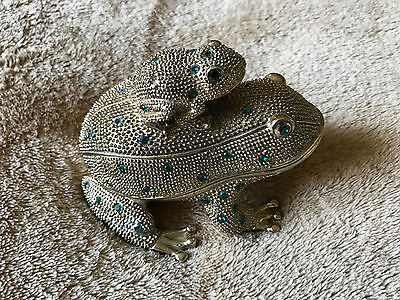 Rhinestone-encrusted FROG desk set: paperweight w/letter opener and magnifier