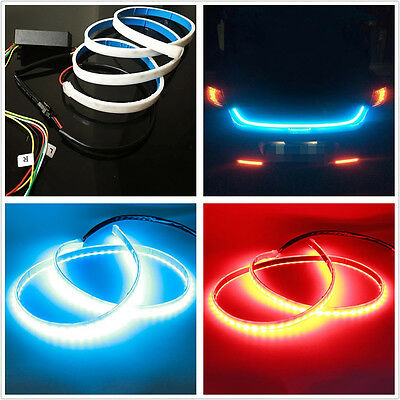Dual Color 12V Car SUV Flow Type Flowing Tailgate Light Hazard Alert Lamp Strip