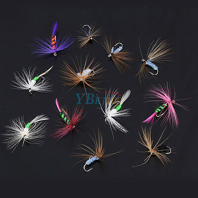 12Pcs Fly Fishing Flies Bass Trout Dry Floating Lures Baits Tackle With Hook ZY