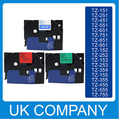 Great Quality Compatible For Brother P-Touch Tze Label Tape 24mm x 8m