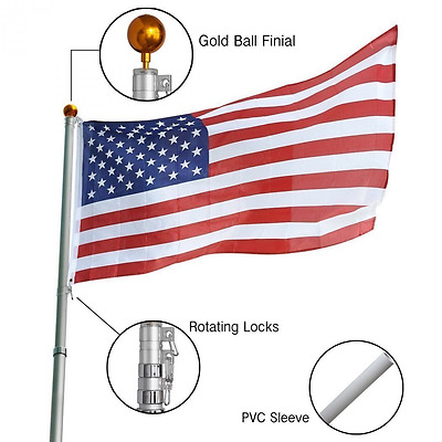 Koval Inc. 25 ft Aluminum Telescoping Flagpole Kit with US Flag (25FT Telescopic