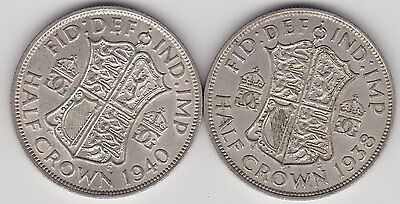 1938 & 1940 George Vi 50% Silver Half Crowns In Very Fine Or Better Condition