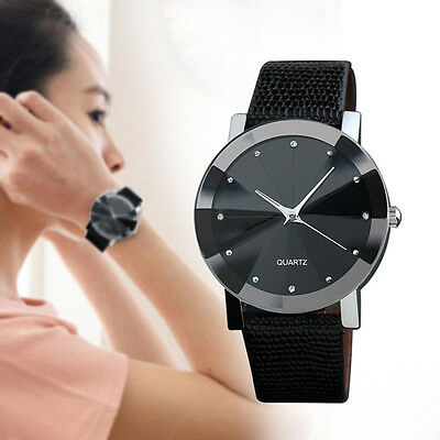 Classic Womens Lady Leather Band Quartz Wrist Watch Analog Stainless Steel Watch