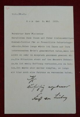 REICHSKANZLER BERNHARD v BÜLOW (1849-1929) BRIEF a RICHARD FLEISCHER 1915 #B679S