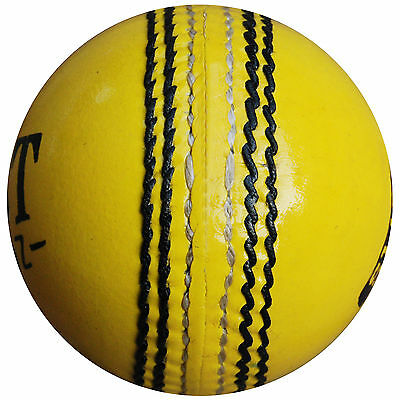 Leather Cricket Ball New Match Quality Hard Ball Full Size 4.75 OZ Junior YELLOW