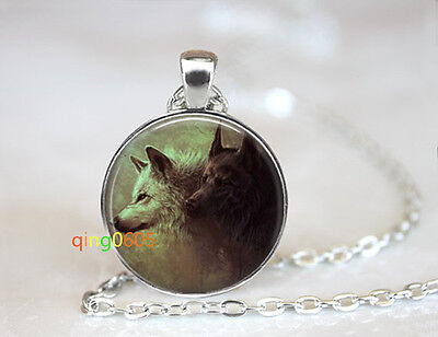 Wolf Pack Forest Animal glass dome Tibet silver Chain Pendant Necklace wholesale