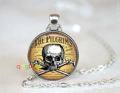 Pirate Skull Necklace glass dome Tibet silver Chain Pendant Necklace wholesale