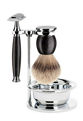 MÜHLE Sophist 4 Piece Grenadilla Wood Double Edge Razor Shaving Set