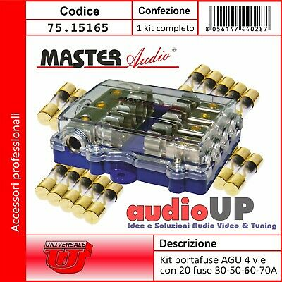 Portafusibile Agu 4 Vie In Kit Di 20 Fusibili Di Ricambio. Fusibili Car Audio