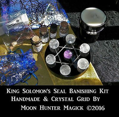 Solomon's Seal Deluxe Banishing Spell Kit Crystal Grid Thelema Kabbalah