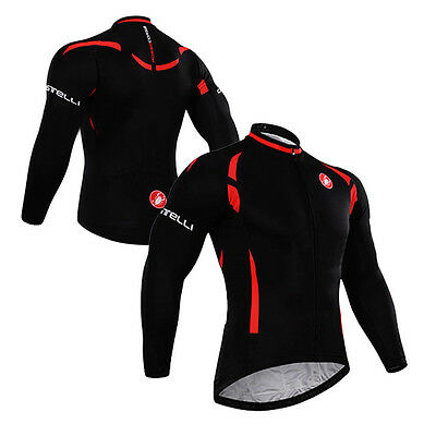 New Casual Men Road Bike Team Cycling Long Sleeve Tops Jerseys Bicycle Shirts