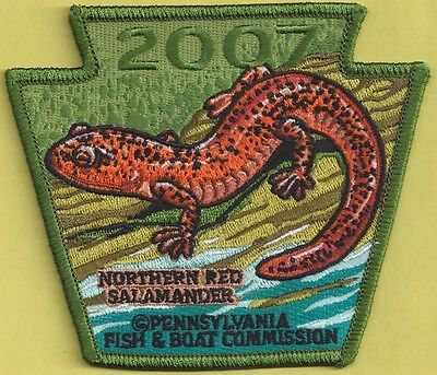 Pa Pennsylvania Fish Commission NEW 2007 Red Salamander NON GAME Series Patch