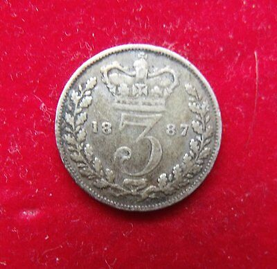 1887 Young head RARE Victoria Silver Threepence in fair condition British Coins