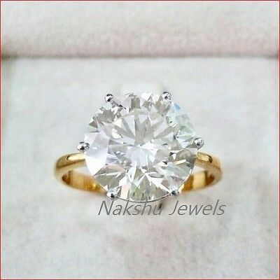 3CT Round Off White Moissanite Solitaire Engagement Ring 925 Sterling Silver