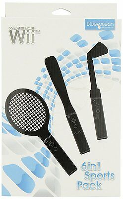 Wii New- Blue Ocean Accessories 6-in-1 Sports Pack - Black (Wii)