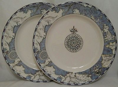 Syracuse China Old World Map & Compass Dinner Plates - Set of 2 -Excellent
