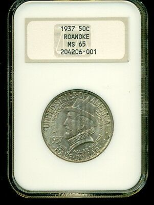 1937 50c Roanoke Silver Commemorative Half Dollar NGC MS 65