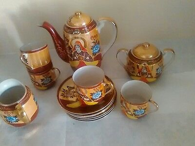 Vintage hand painted Japanese 13 pieces of tea set,ceramic collectable