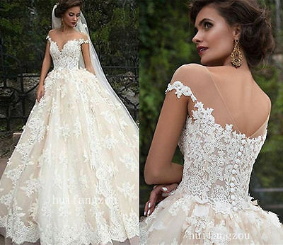 New White/Ivory Lace Wedding Dress Ball Gown Custom Size 4 6 8 10 12 14 16