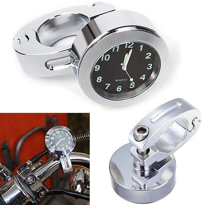 "Waterproof 7/8"" Motorcycle Bike Handlebar Mount Digital Clock Time Gauge Watch"
