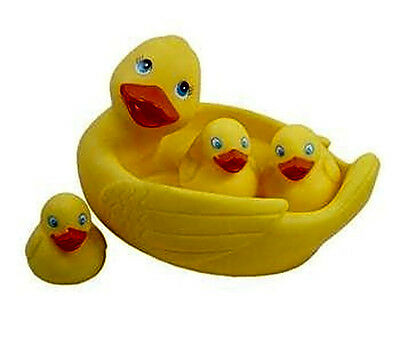 Rubber Duck Family Bath Set (Set of 4) Floating Bath Tub Toy Bathing Accessories