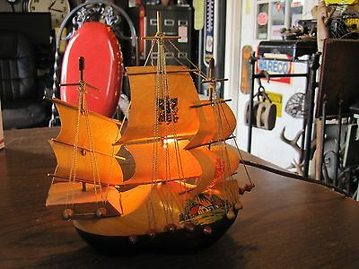 Vintage Holland Wooden Shoe Ship Night Light Table Lamp Pirate