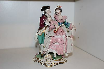 Vintage Porcelain Frankenthal Dresden Lace Courting Couple Figurine-West Germany
