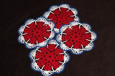 New Hand Crocheted Doily - red, white, blue, patriotic, set of 4