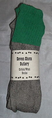 "100% Cotton/Wool Socks - Grey with Green Top and Strip - Civil War - Sale ""NEW"""