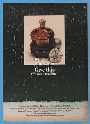 1964 Seagrams Crown Royal Canadian Whisky Bottle Heart Christmas Ornament Pic Ad