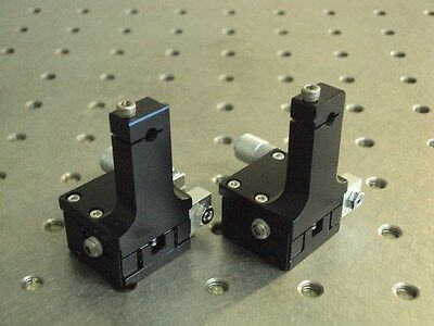 Set Of 2 Melles Griot Locking Linear Positioner Platform Stage  / Fiber Clamp