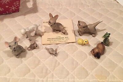 Lot Of 7 Hagen Renaker Figurines Mouse Rabbit Lamb Dragon Cat Duck Puppy