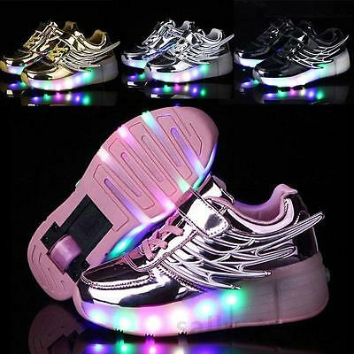 Kids Retractable Wheel Roller Skate Shoes Younth Boys Girls LED Light Up Shoes