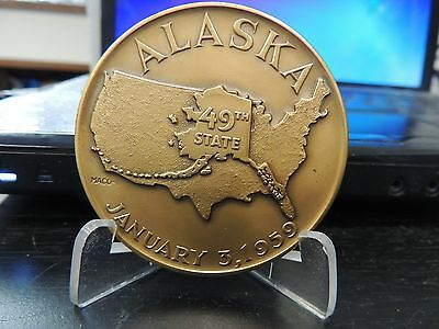 "1959 49Th State Of Alaska Official Bronze Medal  2 1/2"" Medallic Art Co"