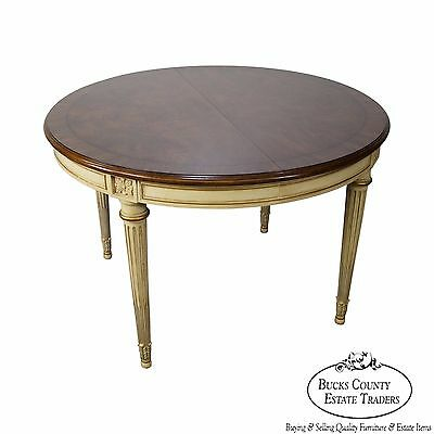 Karges Vintage French Louis XVI Style Round Walnut Dining Table w/ 3 Leaves