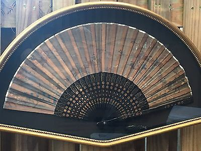 Hand painted Asian silk fan in shadow box frame NICE