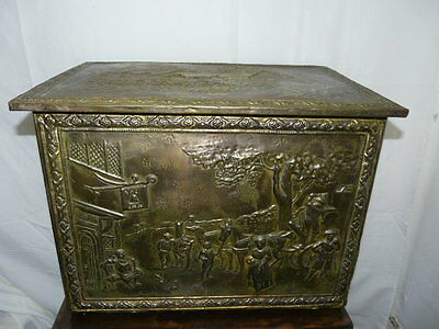 Vintage Copper Plate Wooden Storage Box - LARGE - Ann Hathaway's Cottage