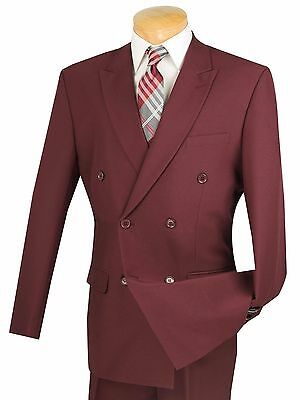 Men's Burgundy Double Breasted 6x2 Button Classic Fit Polyester Suit NEW
