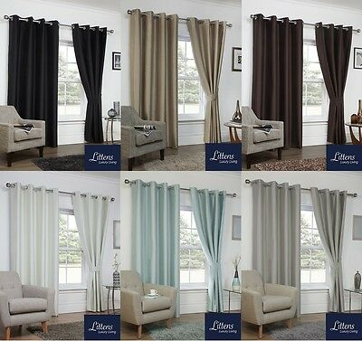 Luxury Faux Silk Blackout Ready Made Eyelet Curtains Ring Top Inc Tie Backs